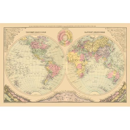 International Map - Western and Eastern Hemisphere - 1829 - 35.71 x ...