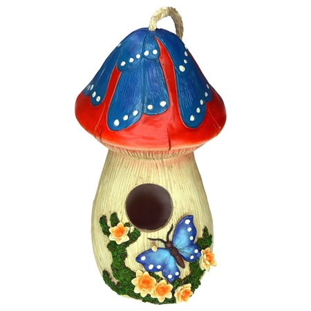 hand-painted mushroom birdhouse with flowers and butterfly, garden (Garden Designs Pole Mount Birdhouse)
