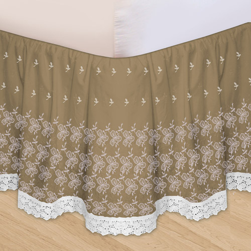 Embroidered 3-Piece Adjustable Bedskirt by Veratex, Inc.