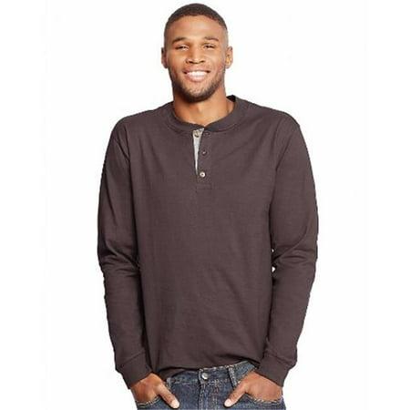O5719 Beefy Mens Long-Sleeve Henley T-Shirt, Dark Truffle - Medium