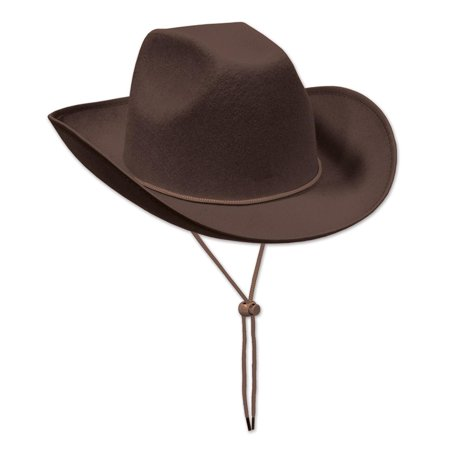 Club Pack of 6 Western Themed Brown Felt Cowboy Hat Costume Accessories - Charlie Brown Halloween Theme Song