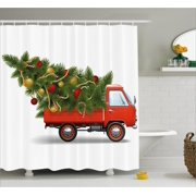 Christmas Shower Curtain Set Red Retro Farm Truck And Big Tree With Decorations Tinsel