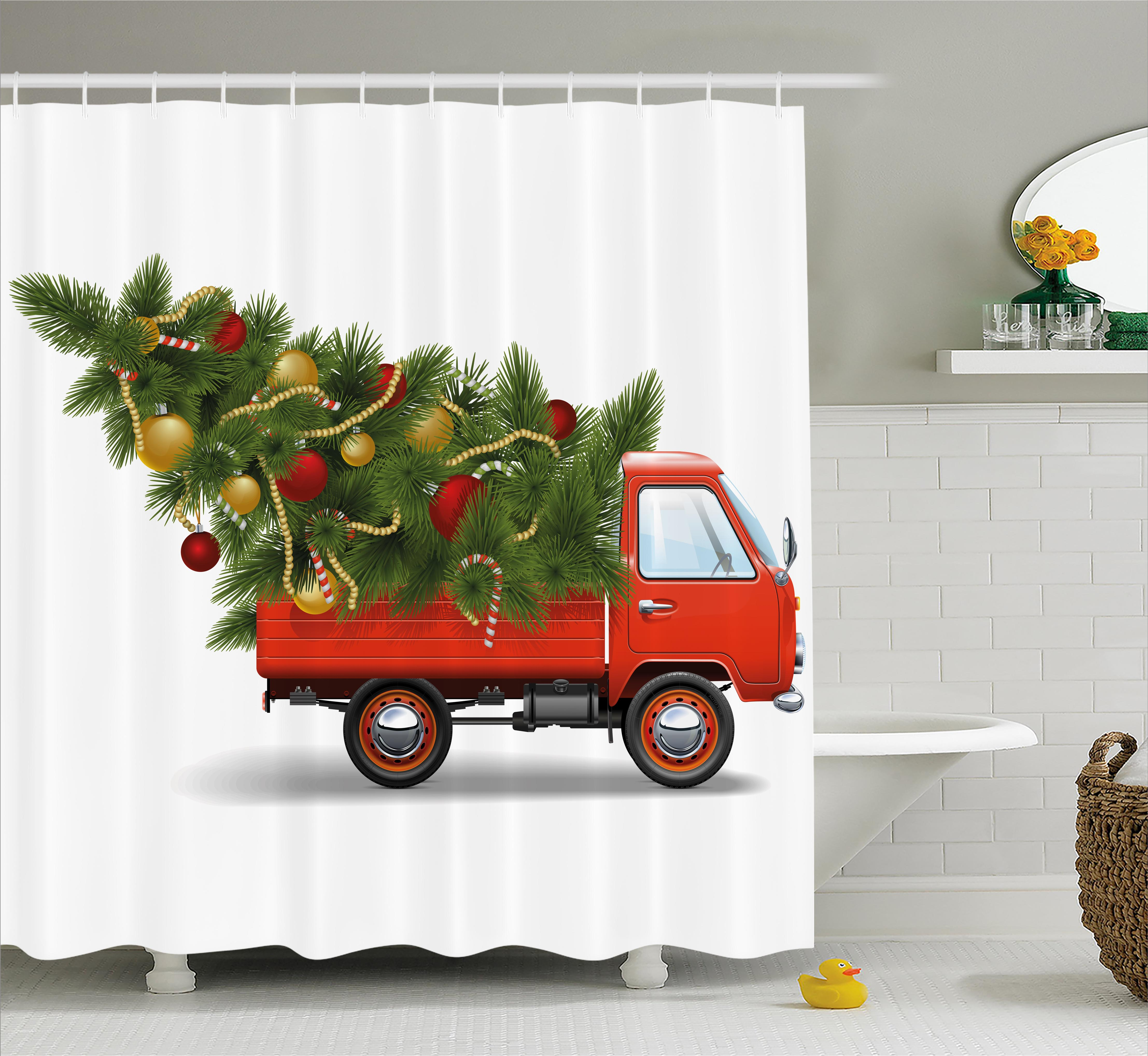 Christmas Shower Curtain Set, Red Retro Farm Truck and Big Christmas Tree with Decorations Tinsel Balls Candy, Bathroom Decor, White Red Green, by Ambesonne
