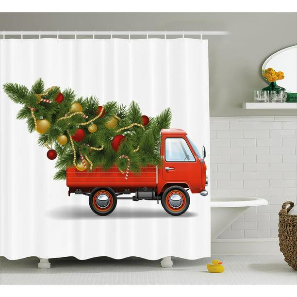 Christmas Shower Curtain Set, Red Retro Farm Truck And Big