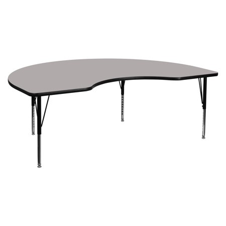 Thermally Fused Laminate (Flash Furniture 48''W x 96''L Kidney Shaped Activity Table with Grey Thermal Fused Laminate Top and Standard Height Adjustable)