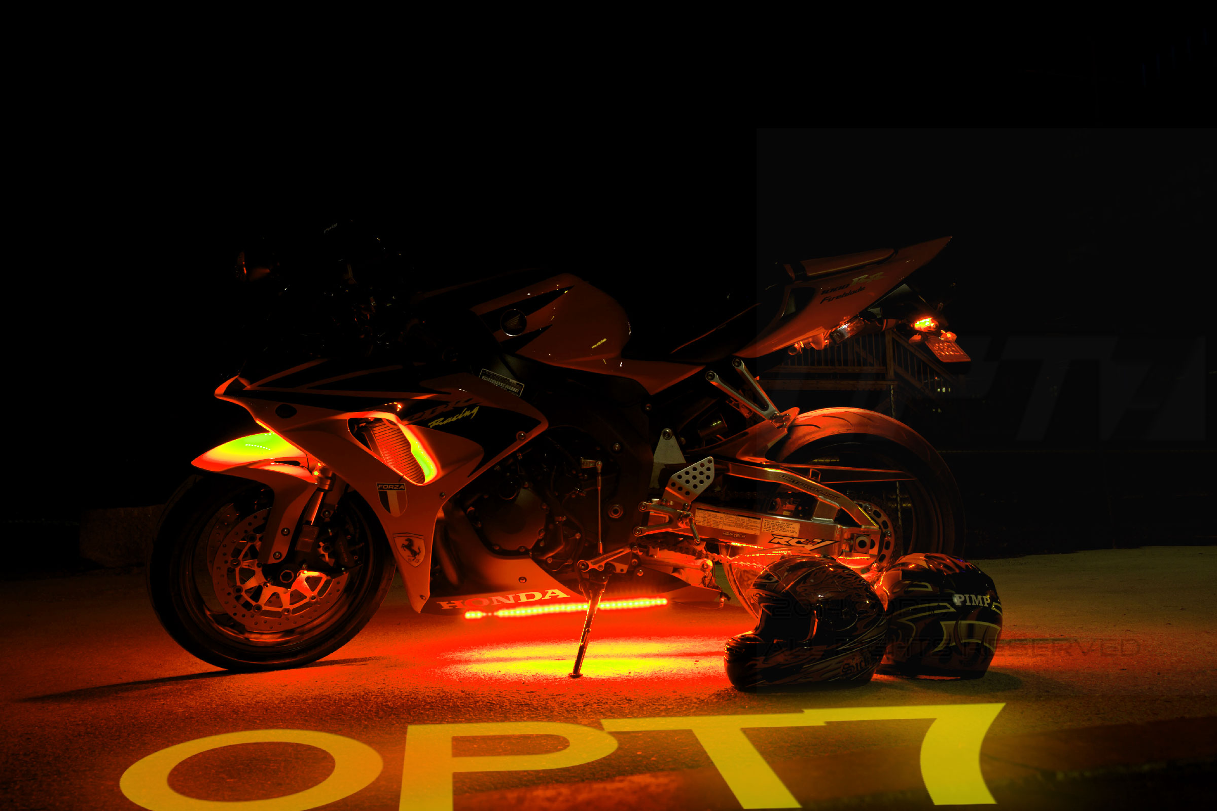 motorcycle green pin stretched custom led lighting lights