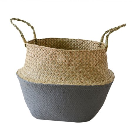 Seagrass Wickerwork Basket Rattan Foldable Hanging Flower Pot Planter Woven Dirty Laundry Basket Storage Basket Home Storage Decor Basket ()