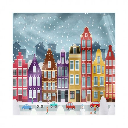 Amsterdam Napkins Set of 4, Dutch Town in the Winter Historical Apartments Snowy Christmas Eve Noel Theme, Silky Satin Fabric for Brunch Dinner Buffet Party, by Ambesonne ()