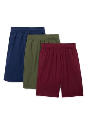 Athletic Works Boys Core DriWorks 3-Pack Shorts, Sizes 4-18 & Husky
