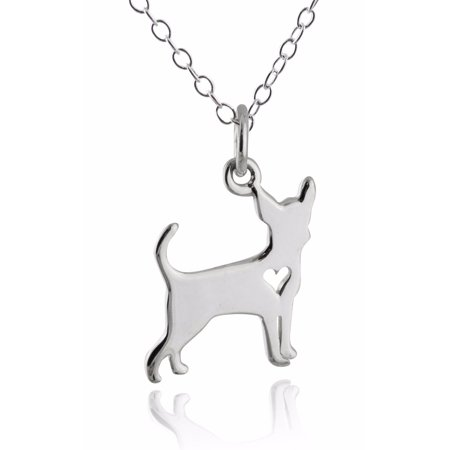 Sterling Silver Chihuahua Dog with Heart Cutout Pendant Necklace, 18