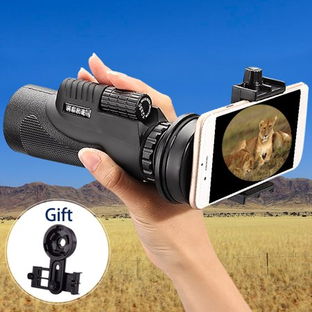 Portable 12x50 Waterproof HD Cellphone Monocular Telescope Optical Lens + Tripod + Camera Clip