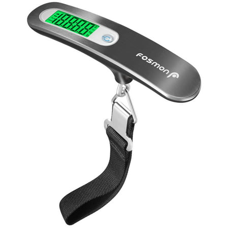 Fosmon Digital Luggage Scale, 110 LB Stainless Steel Hanging Handheld Travel Scale with Tare Function - Silver