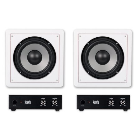 Acoustic Audio CS IW8SUB In Wall 8 Passive Subwoofers And Amps For Home Theater