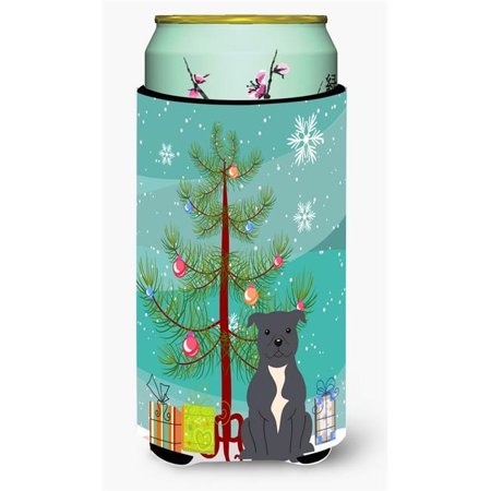 Staffordshire Cottage (Merry Christmas Tree Staffordshire Bull Terrier Blue Tall Boy Beverage Insulator Hugger)
