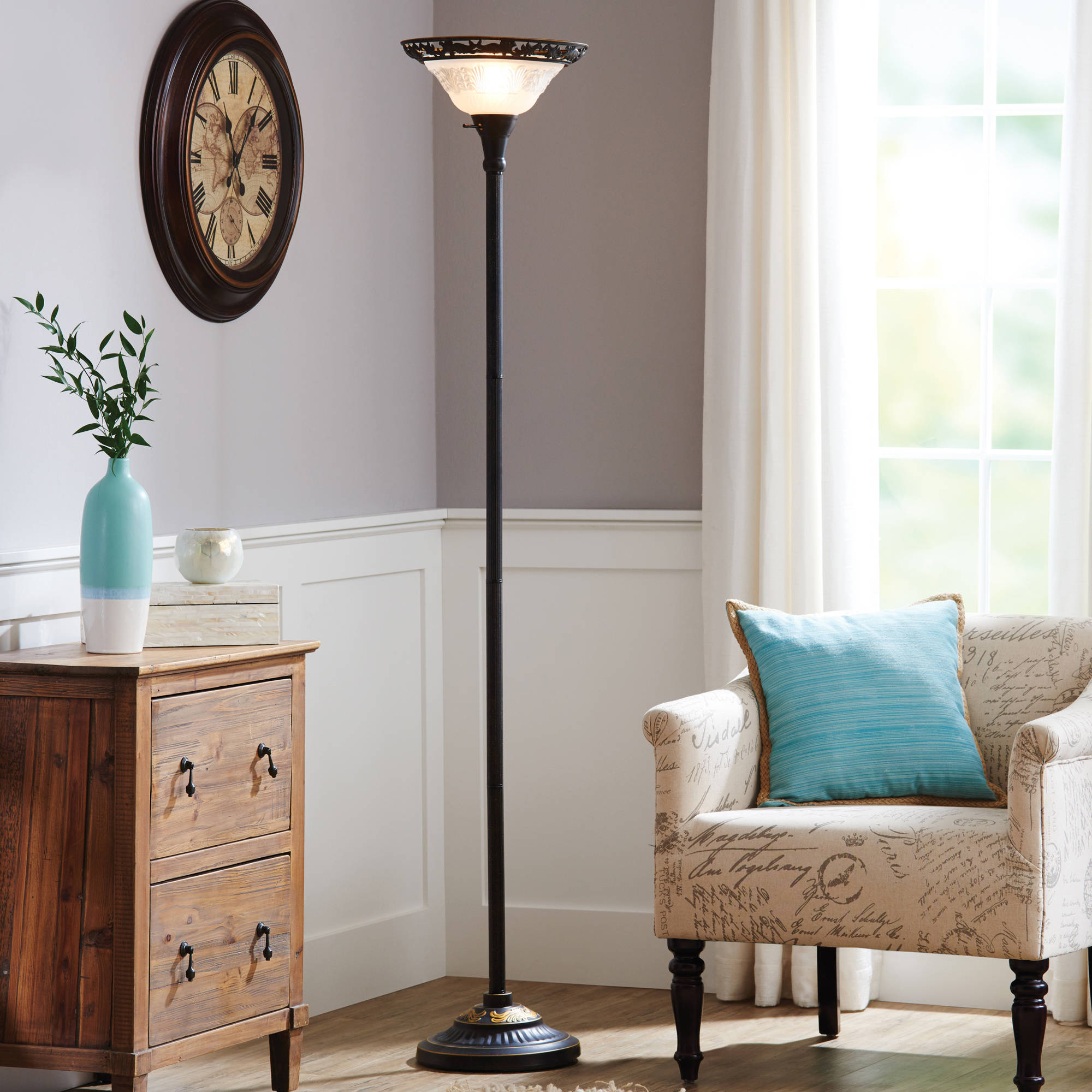 "Better Homes and Gardens 70"" Victorian Floor Lamp with Etched Glass Shade"