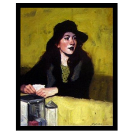 buyartforless Lost in Thought Sitting at Diner Counter by Ed Martinez Framed Wall - 50s Diner Decor