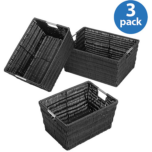Whitmor Set of 3 Rattique Totes, Black