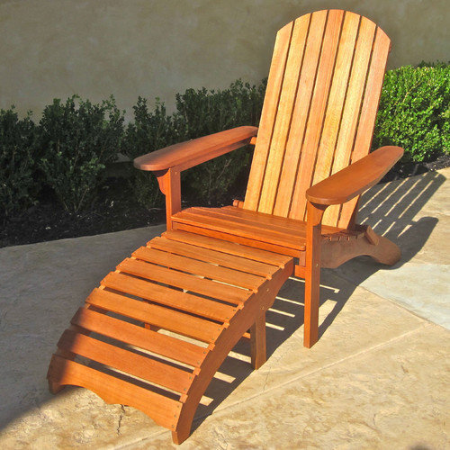 International Caravan Royal Tahiti Outdoor Adirondack Chair with Footrest