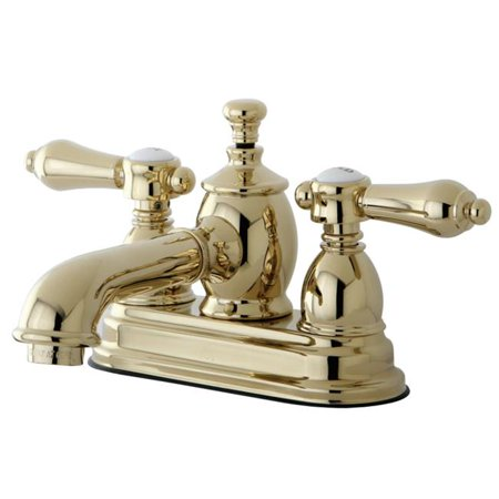Kingston Brass KS7002BAL 4 in. Belair Centerset Lavatory Faucet with Brass Pop-Up with Metal Lever Handle, Polished Brass - image 1 de 1