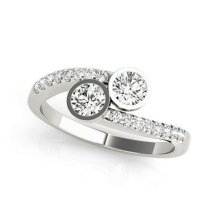 14K White Gold Round Bezel Setting Two Stone Diamond Ring (5/8 ct. tw.) Size - 4 Ring Settings Side Stone
