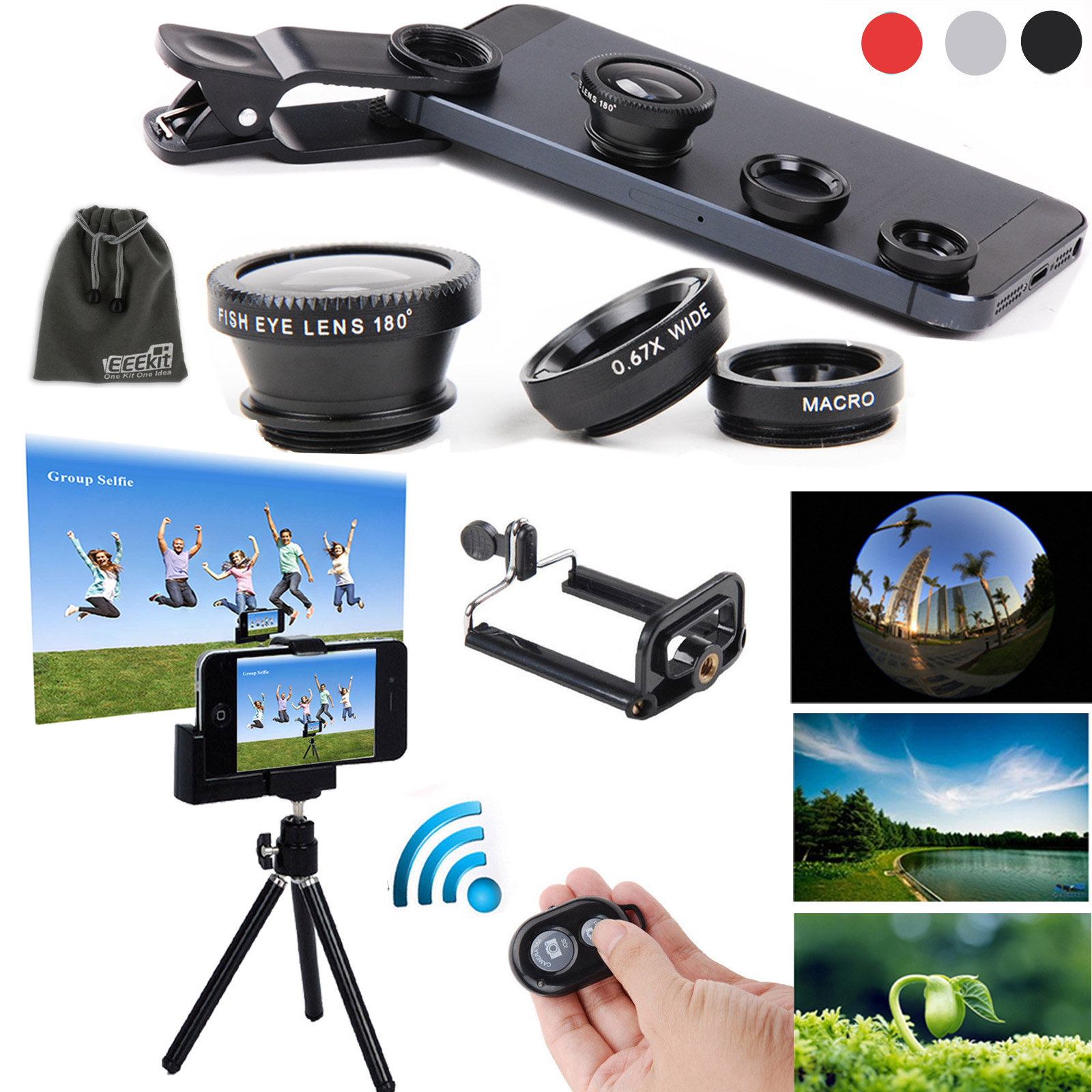 EEEKit 5in1 Kit for Cellphone iPhone Samsung,Fisheye Wide Angle Macro Lens, Remote Shutter, Mini Tripod Stand by EEEkit