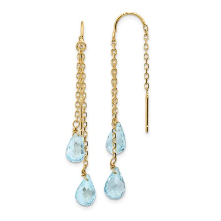 14k Yellow Gold Double Blue Topaz Pear Shape Tassel String Threader Earrings Drop Dangle Fine Jewelry For Women Gift Set 14k Gold Stick Drop Earrings