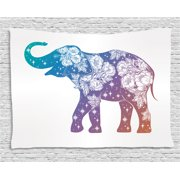 Elephant Tapestry, Asian Animal with Romantic Wildrose Pattern and Stars Oriental with Ombre Effect, Wall Hanging for Bedroom Living Room Dorm Decor, 60W X 40L Inches, Multicolor, by Ambesonne
