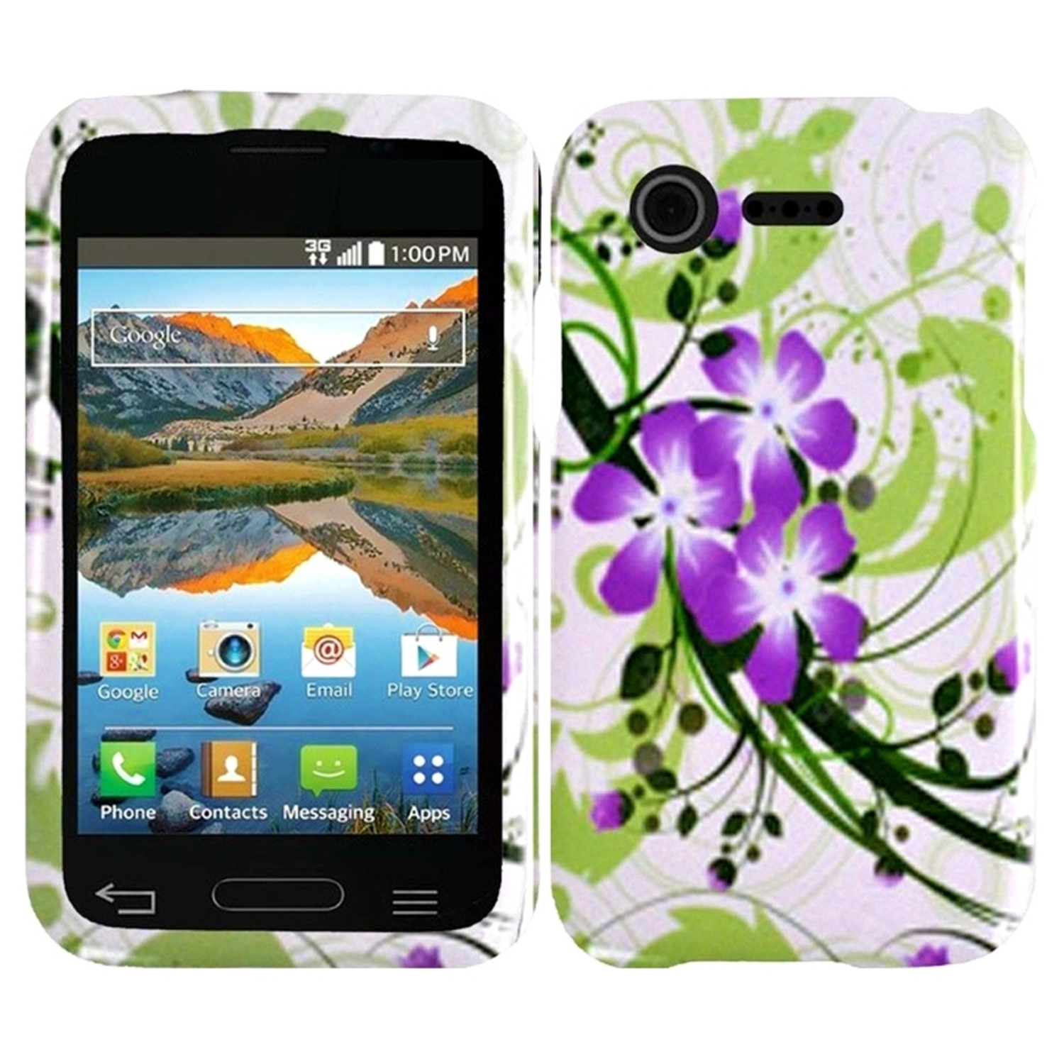 Insten Green Lily Hard Back Skin Protective Case for LG Optimus Zone 2 VS415PP L34C Fuel