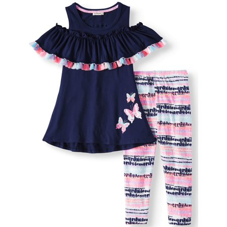 Tassel Trim Cold Shoulder Tunic and Printed Legging, 2-Piece Outfit Set (Little Girls) - Vanilla Girl