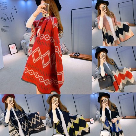 Girl12Queen Women Ethnic Rhombic Plaid Pattern Scarf Faux Cashmere Thick Long Scarves (Faux Cashmere)