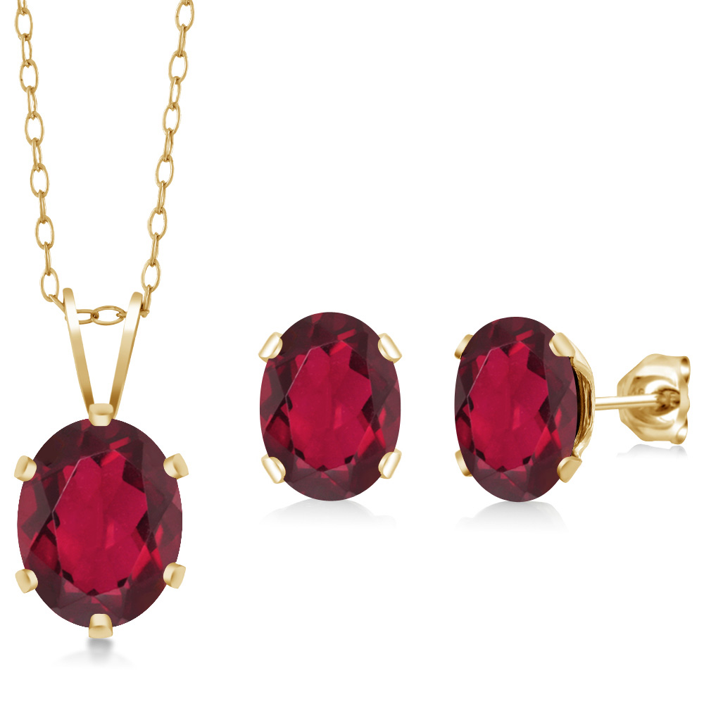 3.50 Ct Oval Red Mystic Topaz Gold Plated Silver Pendant Earrings Set