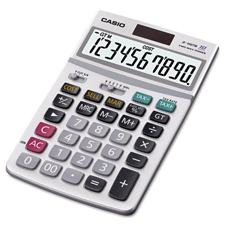Casio JF100MS Desktop Calculator, 10-Digit (Aluminum Desktop Calculator)