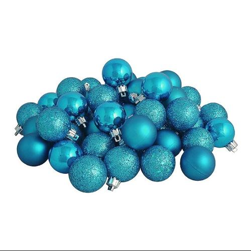 """96ct Turquoise Blue Shatterproof 4-Finish Christmas Ball Ornaments 1.5"""" (40mm)"""