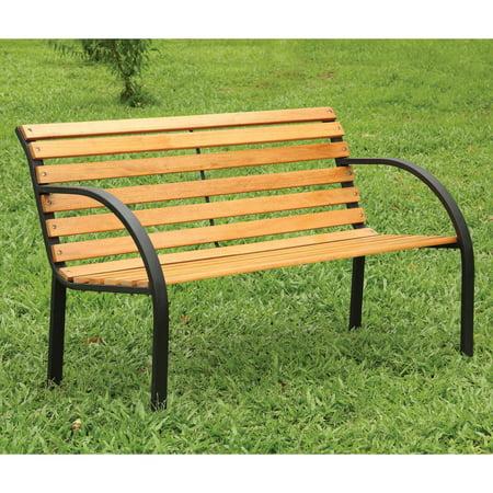 Fine Curvans Slatted Natural Oak Slats 4 Ft Outdoor Metal Bench Beatyapartments Chair Design Images Beatyapartmentscom