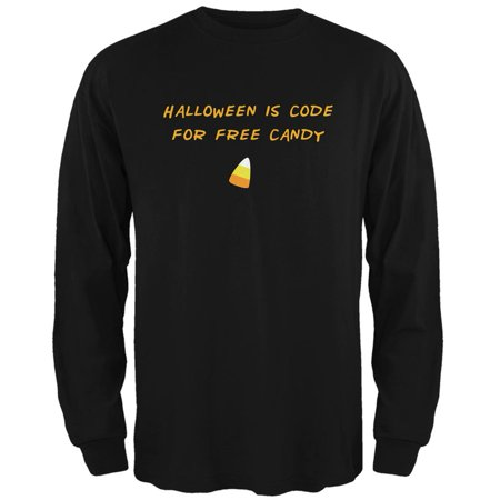 Halloween is Code For Free Candy Black Adult Long Sleeve T-Shirt