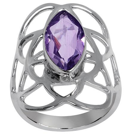 Orchid Jewelry Silver Overlay 2-1/4 Ctw Genuine Marquise Amethyst Single Stone Ring