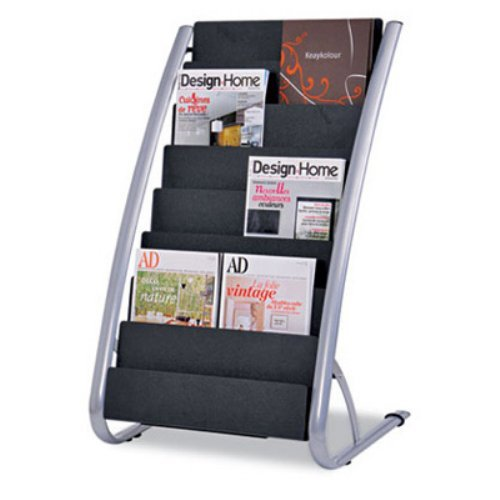 Alba DDEXPO8 Literature Floor 8-Pocket Display Rack - BLK/Chrome
