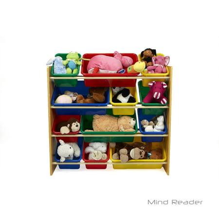 Mind Reader Toy Storage Organizer With 12 Bins Kids For Bedroom