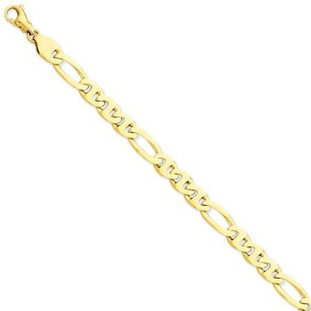 Mens Gold Figaro Bracelet - 14k Yellow Gold 8.25in 8.75mm Figaro Link Mens Chain Bracelet
