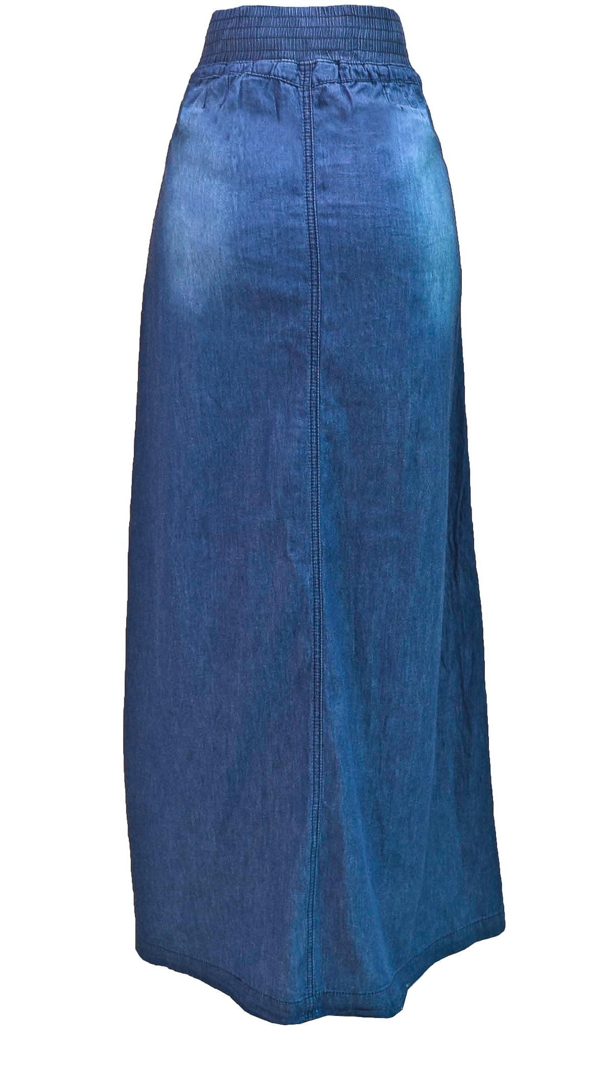 Women/'s Juniors Long Light Denim Slit Maxi Skirt