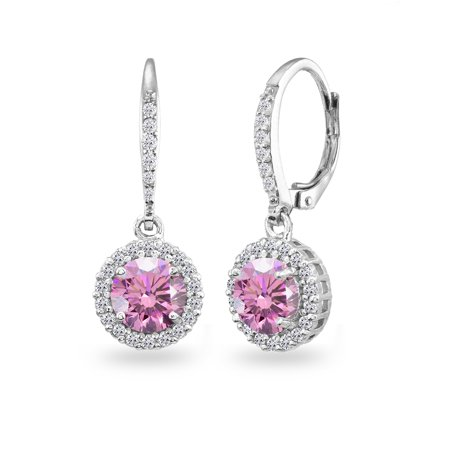 Pink Halo Dangle Earrings Made w/ Swarovski Crystals in 925 Silver Beauty Swarovski Fuchsia Pink Crystal