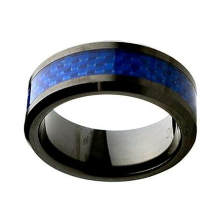 Men Women Ceramic Wedding Band Ring 8mm Beveled Edge Blue Carbon Inlay Black Ring