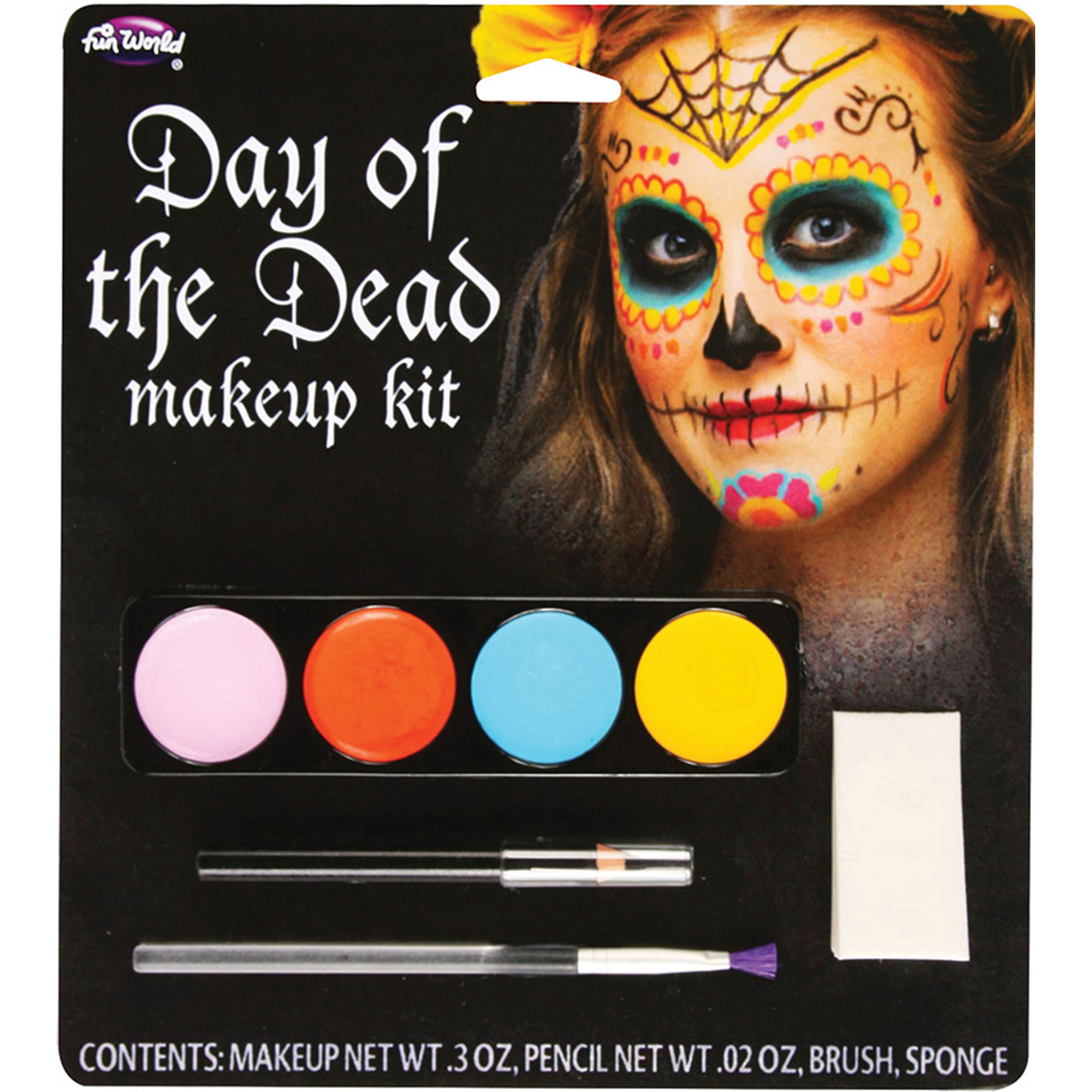 Morris Costumes Complete Outfit Day Of The Dead Makeup Kit Female, Style FW5618F
