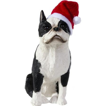 Boston Terrier Dog Ornament - Sandicast Sitting Boston Terrier with Santa's Hat Christmas Dog Ornament