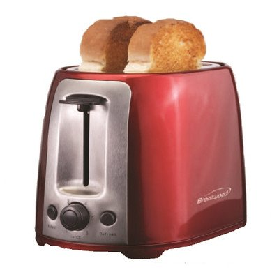 Brentwood 2 Slice Cool Touch Toaster ; Red And Stainless Steel - 800 W - Toast, Reheat, Browning - Red, Stainless Steel (ts-292r)