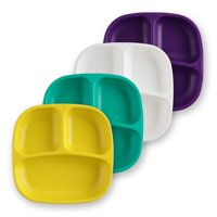 Re-Play Made in USA 4pk Divided Plates with Deep Sides for Easy Baby, Toddler, Child Feeding - Amethyst, Aqua, White, Yellow (Pop+)