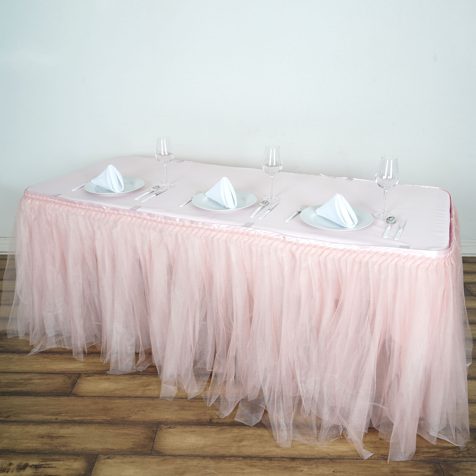 BalsaCircle Tutu Two Layers Tulle Table Skirt Linens - 3 sizes - Wedding Party Trade Show Booth Events Birthday Linens Decorations