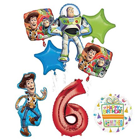 Mayflower Products Toy Story Party Supplies Woody, Buzz Lightyear and Friends 6th Birthday Balloon Bouquet Decorations](Balloon Buzz Lightyear)