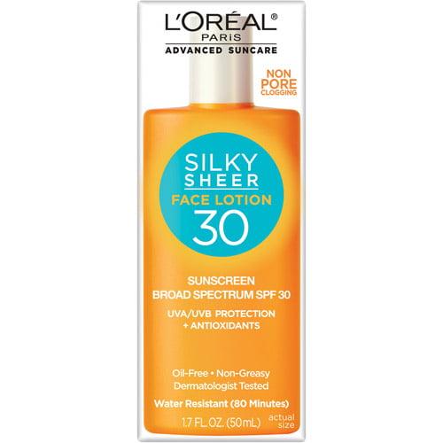 L'Oreal Paris Advanced Suncare Silky Sheer Face Lotion SPF 30, 1.7 fl oz