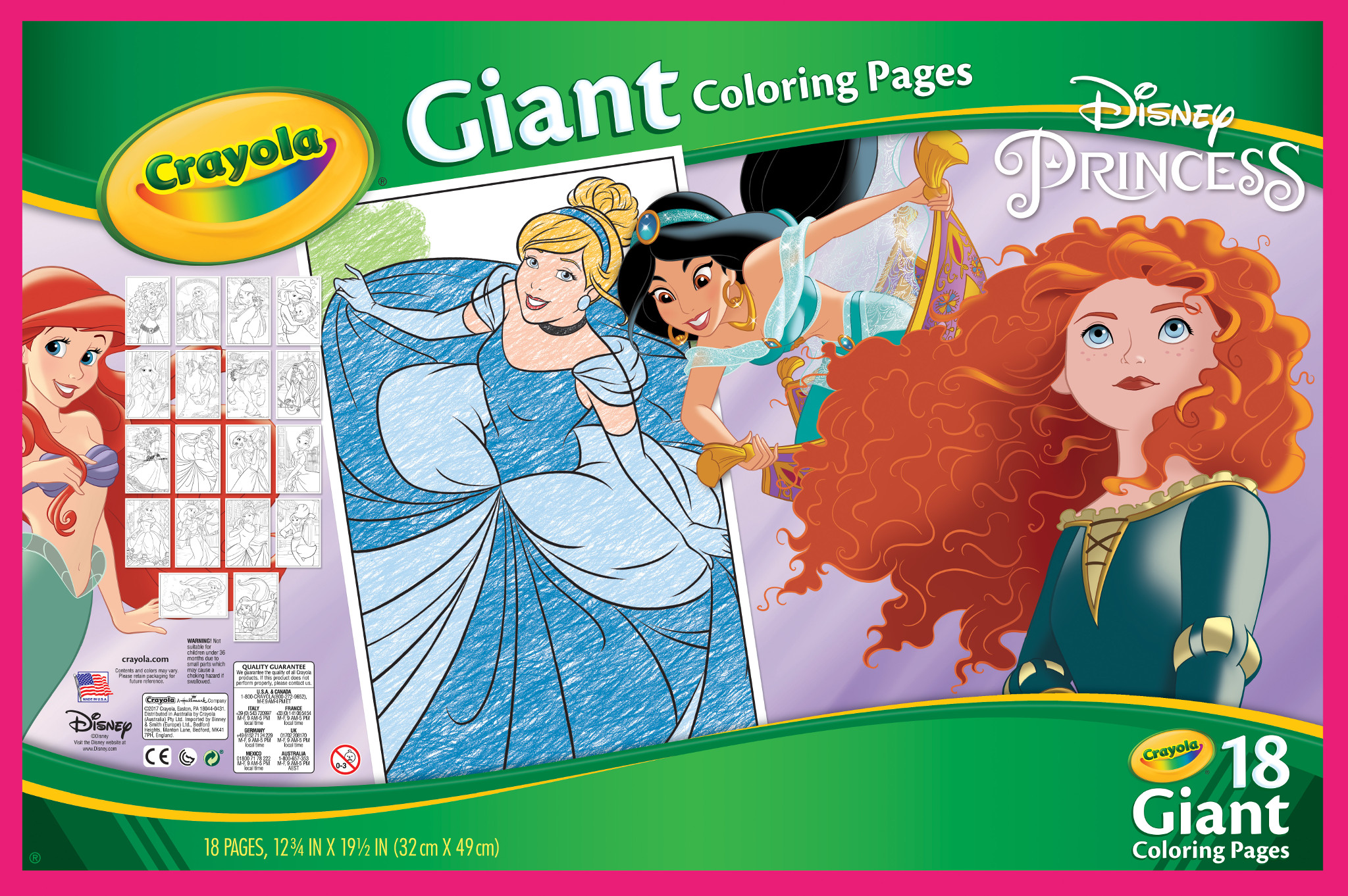 Crayola 18 Count Giant Color Pages Featuring Classic Disney ...